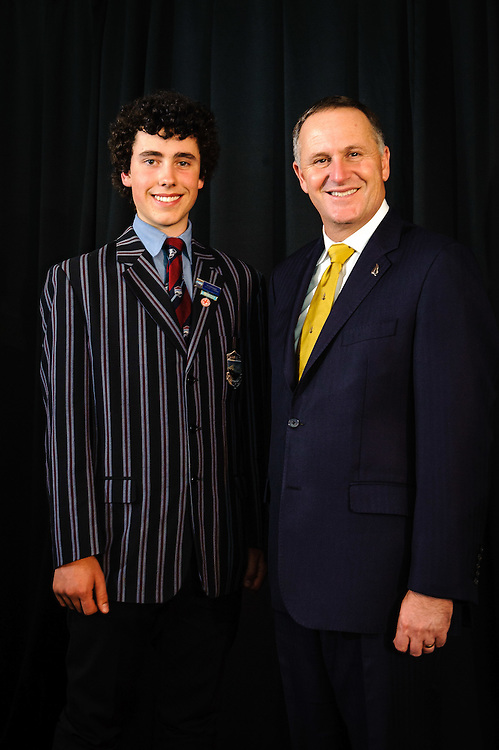 WELLINGTON, NEW ZEALAND - December 02: Future Scientist winner Tim Logan with Prime Minister Rt Hon John Key. Prime Ministers Science Prizes December 02, 2014 in Wellington, New Zealand.  (Photo by Mark Tantrum/ mark tantrum.com)