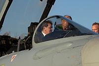 """03 NOV 2003, LAAGE/GERMANY:<br /> Gerhard Schroeder, SPD, Bundeskanzler, im Cockpit eines Eurofighter EF 2000 """"Typhoon"""", hier in der zweisitzigen Ausbildungsversion, laesst sich das neue Jagdflugzeug der Bundesluftwaffe von einem Piloten erklaeren, im Rahmen eines Besuches der Luftwaffe, Fliegerhorst Laage<br /> IMAGE: 20031103-01-045<br /> KEYWORDS: Bundeswehr, Bundesluftwaffe, Jet, Kampfflugzueg, Gerhard Schröder, Flugzeug, plane"""