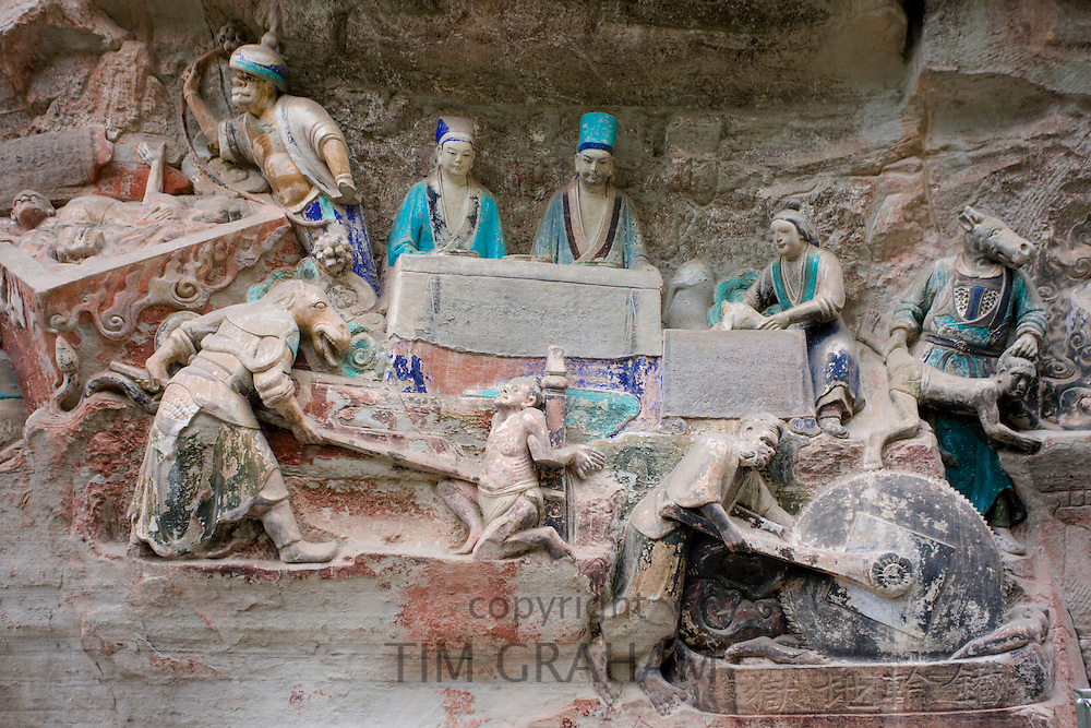 Dazu rock carvings religious scene at Mount Baoding, Chongqing, China