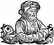 Anaximines (active c500 BC) Ancient Greek philosopher. With Thales and Anaximander, one of three great thinkers from Miletus.  Considered air basic form of matter. Woodcut from Hartmann Schedel 'Liber chronicarum mundi' (Nuremberg Chronicle) Nuremberg 1493.