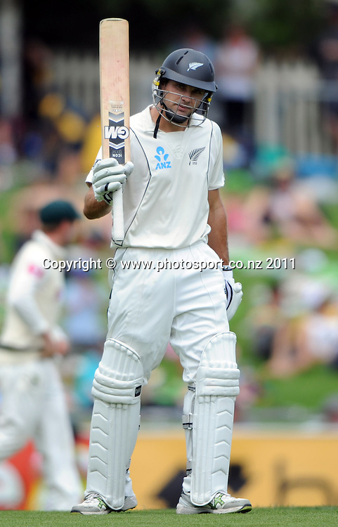 Dean Brownlie acknowledges his 50 on Day 1 of the second cricket test between Australia and New Zealand Black Caps at Bellerive Oval in Hobart, Friday 9 December 2011. Photo: Andrew Cornaga/Photosport.co.nz
