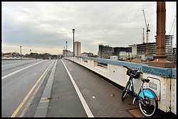A Boris Bike on Wandsworth Bridge, South West London, United Kingdom. Friday, 13th December 2013. Picture by Andrew Parsons / i-Images