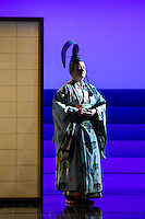 """LONDON, UK, 14 May, 2016. Alun Rhys-Jenkins (as Goro) rehearses for the revival of director Anthony Minghella's production of Puccini's opera """"Madam Butterfly"""" at the London Coliseum for the English National Opera. The production opens on 16 May. Photo credit: Scott Rylander."""