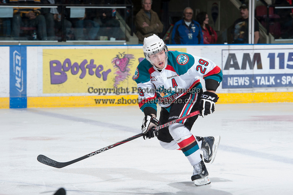 KELOWNA, CANADA - JANUARY 24:  Myles Bell #29 of the Kelowna Rockets skates on the ice against the Seattle Thunderbirds at the Kelowna Rockets on January 24, 2013 at Prospera Place in Kelowna, British Columbia, Canada (Photo by Marissa Baecker/Shoot the Breeze) *** Local Caption ***