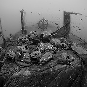 INDONESIA. Kubu, Bali. June 20th, 2013. The Kubu wreck was sunk in 2012 and is accessible off the beach, located roughly 100-meters offshore and is approximately 60-meters in length. Built in Holland in 1952, she was used as a patrol vessel by the Indonesian Government for the department of sea communication.