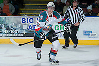KELOWNA, CANADA -FEBRUARY 10: Cole Linaker #26 of the Kelowna Rockets skates against the Seattle Thunderbirds on February 10, 2014 at Prospera Place in Kelowna, British Columbia, Canada.   (Photo by Marissa Baecker/Getty Images)  *** Local Caption *** Cole Linaker;