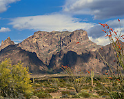 Cloud shadows race across the entrance to Palm Canyon in the Kofa Mountains in the Sonoran Desert of southwestern Arizona