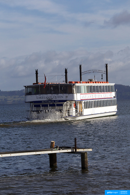 The Lakeland Queen, purpose built in 1986 and modelled after the shallow draft stern driven Mississippi River Boats has now become an iconic fixture of the lake providing  memorable culinary cruises. The Lakeland  Queen has only ever sailed on Lake Rotorua. Rotorua, New Zealand,, 10th December 2010 Photo Tim Clayton