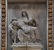 Pieta, 1644, by Etienne Desplanches, in marble and painted wood, from the altarpiece in the Chapelle Notre Dame de Pitie, Rouen Cathedral or the Cathedrale de Notre Dame de Rouen, built 12th century in Gothic style, with work continuing through the 13th and 14th centuries, Rouen, Normandy, France.