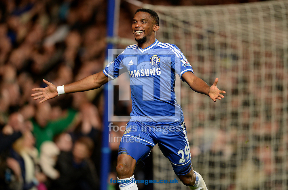 Picture by Andrew Timms/Focus Images Ltd +44 7917 236526<br /> 19/01/2014<br /> Samuel Eto'o of Chelsea celebrates scoring his third goal during the Barclays Premier League match against Manchester United at Stamford Bridge, London.