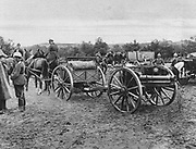 World War I 1914-1918:  German field artillery unit setting up its position. In centre is one of the horse-drawn guns on its gun-carriage, France, 1915. Military, Army, Weapon