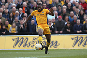 Lenell John-Lewis shoots during the EFL Sky Bet League 2 match between Newport County and Notts County at Rodney Parade, Newport, Wales on 6 May 2017. Photo by Daniel Youngs.