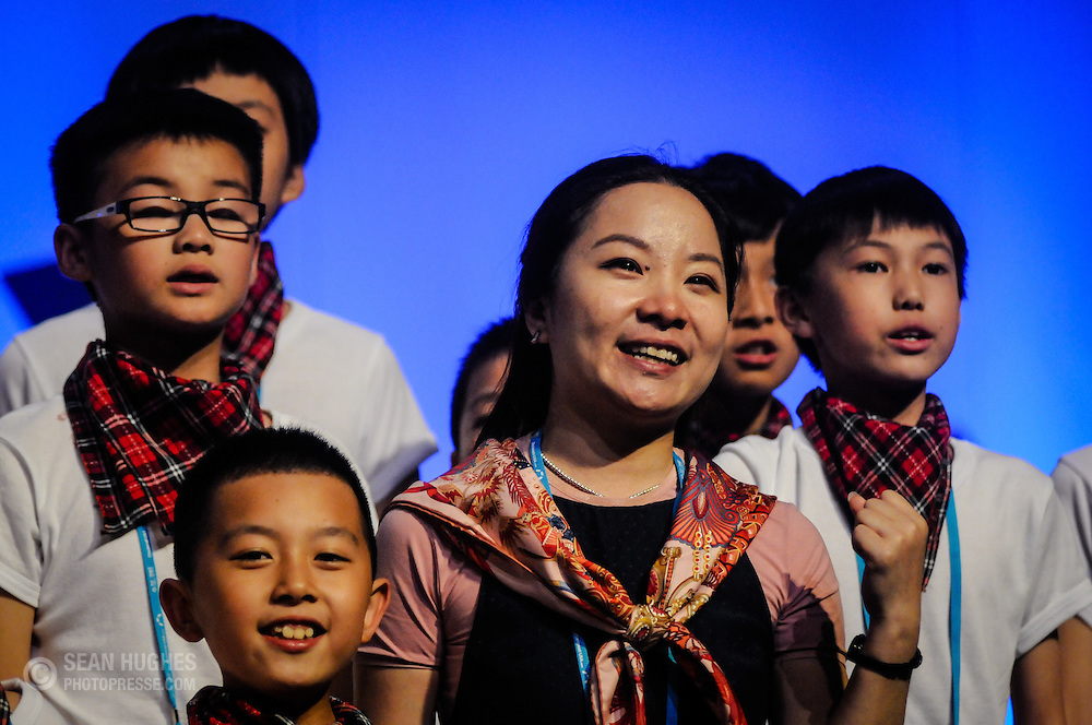 Wenzhou Children Art School Boys Choir, Qiaogu Chen, China, are the Champions in the Young Children's Choirs category at the July 13, 2012 Awards Ceremony during the 2012 World Choir Games held in Cincinnati, Ohio, USA.