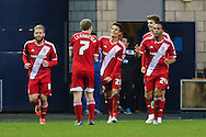 Jelle Vossen of Middlesbrough (21) celebrates scoring his his hatrick to make it 0-4 during the Sky Bet Championship match at The Den, London<br /> Picture by David Horn/Focus Images Ltd +44 7545 970036<br /> 06/12/2014