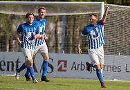 FODBOLD: Casper Porsgaard (Hornbæk IF) jubler efter 2-0 scoring under finalen i Seriepokalen mellem Hornbæk IF og Ballerup Boldklub den 20. maj 2019 på Brøndby Stadion. Foto: Claus Birch.