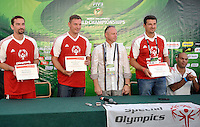 (L) Sebastian Swiderski and (2L) Pawel Papke and (R) Vladimir Grbic of Serbia during press conference of Special Olympics during Day 6 of the FIVB World Championships on July 6, 2013 in Stare Jablonki, Poland. <br /> <br /> Poland, Stare Jablonki, July 06, 2013<br /> <br /> Picture also available in RAW (NEF) or TIFF format on special request.<br /> <br /> For editorial use only. Any commercial or promotional use requires permission.<br /> <br /> Mandatory credit:<br /> Photo by &copy; Adam Nurkiewicz / Mediasport