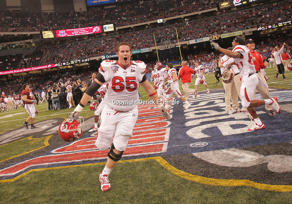 2 January 2009: Utah offensive tackle Dustin Hensel (65) celebrates following a 31-17 win by the Utah Utes over the Alabama Crimson Tide in the 75th annual Allstate Sugar Bowl at the Louisiana Superdome in New Orleans, LA.