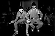 Two UK B-Boys at Youth Against Aparthied event, London, UK, 1986