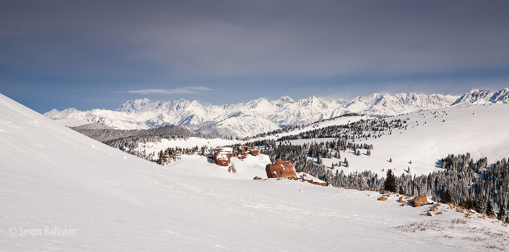 The Gore Range in deep snow is seen north of the Fowler-Hillard hut in the Vail Pass Winter Recreation Area in Colorado.