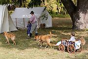 Arkansas, AR, USA, Old Washington State Park, Civil War Weekend. a family at a military camp