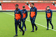 Nottingham Forest U23 players inspect the pitch ahead of the U23 Professional Development League Play-Off Final match between Nottingham Forest and Bolton Wanderers at the City Ground, Nottingham, England on 4 May 2018. Picture by Jon Hobley.