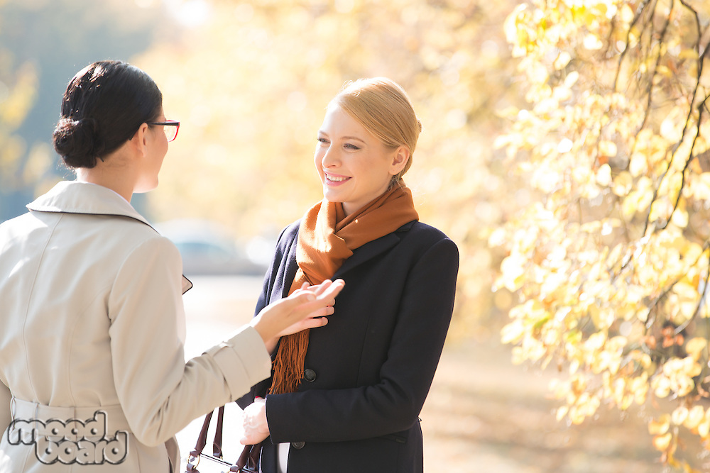 Happy businesswoman conversing with colleague at park on sunny day