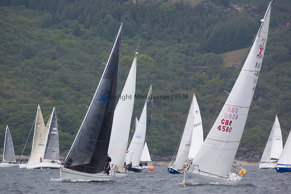 Day three of the Silvers Marine Scottish Series 2016, the largest sailing event in Scotland organised by the  Clyde Cruising Club<br /> Racing on Loch Fyne from 27th-30th May 2016<br /> <br /> Class 9 Start,3336C, Honey Bee, Iain Cameron, CCC, Moody 336 GBR4580, Brave, K Allan/S Shearer, FCYC/DBSC, Sigma 33<br /> <br /> <br /> Credit : Marc Turner / CCC<br /> For further information contact<br /> Iain Hurrel<br /> Mobile : 07766 116451<br /> Email : info@marine.blast.com<br /> <br /> For a full list of Silvers Marine Scottish Series sponsors visit http://www.clyde.org/scottish-series/sponsors/