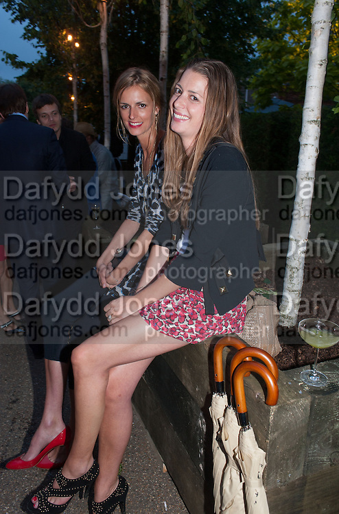 JACQUETTA WHEELER; LUCY DAY, Serpentine Summer party 2012 sponsored by Leon Max. Pavilion designed by Herzog & de Meuron and Ai Weiwei. Kensington Gardens. London. 26 June 2012.
