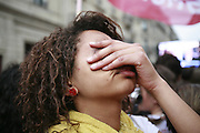 May 6th 2007. Paris, France..In front of the socialist party headquarters, socialist partisans cry the defeat of Ségolène Royal against Nicolas Sarkozy at the second round of the French presidential elections.