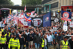 © Licensed to London News Pictures . 02/06/2018. Manchester, UK. Approximately 1000 supporters of The Democratic Football Lads Alliance march and demonstrate in Manchester , eleven days after the first anniversary of the Manchester Arena terror attack . Many shout in support of jailed EDL founder, Tommy Robinson. Photo credit: Joel Goodman/LNP