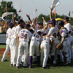 09 June 2008:  Buzzy Haydel #2 (center) lead LSU teammates in a chant and raises his arms to get the crowd involved as the Tigers prepared to take of the UC Irvine Anteaters. The LSU Tigers advanced to the College World Series with a 21-7 victory over the UC Irvine Anteaters in game three of the NCAA Baseball Baton Rouge Super Regional Alex Box Stadium in Baton Rouge, LA..