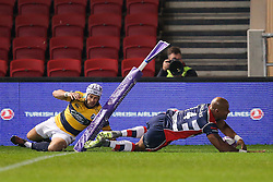 Tom Varndell of Bristol Rugby touches down but his try is not allowed - Rogan Thomson/JMP - 14/10/2016 - RUGBY UNION - Ashton Gate Stadium - Bristol, England - Bristol Rugby v Saracens - EPCR Challenge Cup.