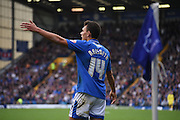 Kal Naimsith appeals for the corner during the Sky Bet League 2 match between Portsmouth and Mansfield Town at Fratton Park, Portsmouth, England on 24 October 2015. Photo by Michael Hulf.