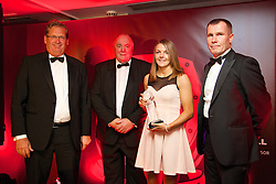CARDIFF, WALES - Monday, October 6, 2014: Wales' Loren Dykes picks up the Women's Club Young Player of the Year Award on behalf of Michelle Green from Brains'John Rhys (L), FAW President Trefor Lloyd-Hughes (C) and Wales women's manager Jarmo Matikainen at the FAW Footballer of the Year Awards 2014 held at the St. David's Hotel. (Pic by David Rawcliffe/Propaganda)