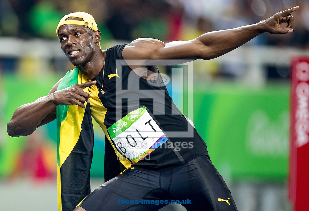 Usain Bolt of Jamaica retains his title and wins his third successive Gold Medal in the Men's 100m on day nine of the XXXI 2016 Olympic Summer Games in Rio de Janeiro, Brazil.<br /> Picture by EXPA Pictures/Focus Images Ltd 07814482222<br /> 14/08/2016<br /> *** UK &amp; IRELAND ONLY ***<br /> <br /> EXPA-GRO-160815-5420.jpg