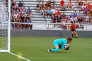 North Carolina Courage goalkeeper Katelyn Rowland (0) makes a save in a game against Manchester City during an International Champions Cup women's soccer game, Thurday, Aug. 15, 2019, in Cary, NC. The North Carolina Courage defeated Manchester City Women 2-1.  (Brian Villanueva/Image of Sport)