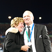 All Blacks coach Graham Henry with his wife Raewen after his side victory during the New Zealand V France Final at the IRB Rugby World Cup tournament, Eden Park, Auckland, New Zealand. 23rd October 2011. Photo Tim Clayton...