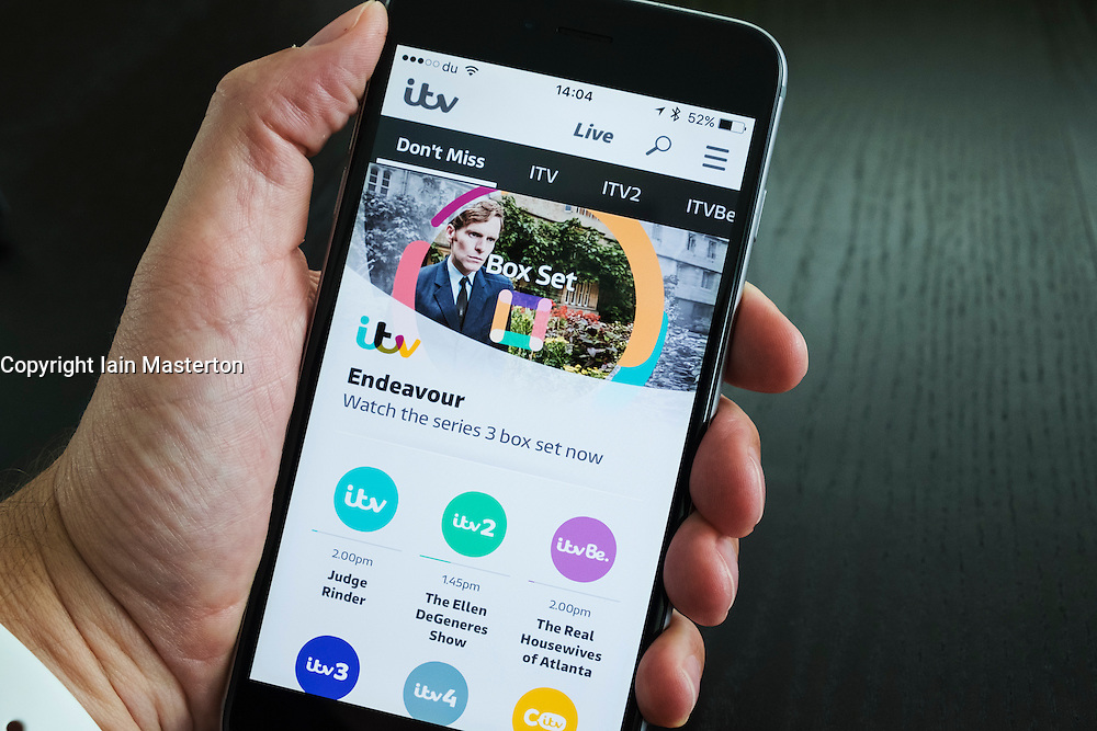 Homepage of ITV on demand catchup TV streaming app on iPhone 6 Plus smart phone