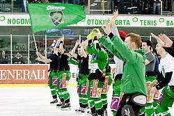 Scott Hotham (HDD Tilia Olimpija, #5) as man of the match and other players greet fans during ice-hockey match between HDD Tilia Olimpija and EHC Liwest Black Wings Linz in 51st Round of EBEL league, on Februar 5, 2012 at Hala Tivoli, Ljubljana, Slovenia. (Photo By Matic Klansek Velej / Sportida)