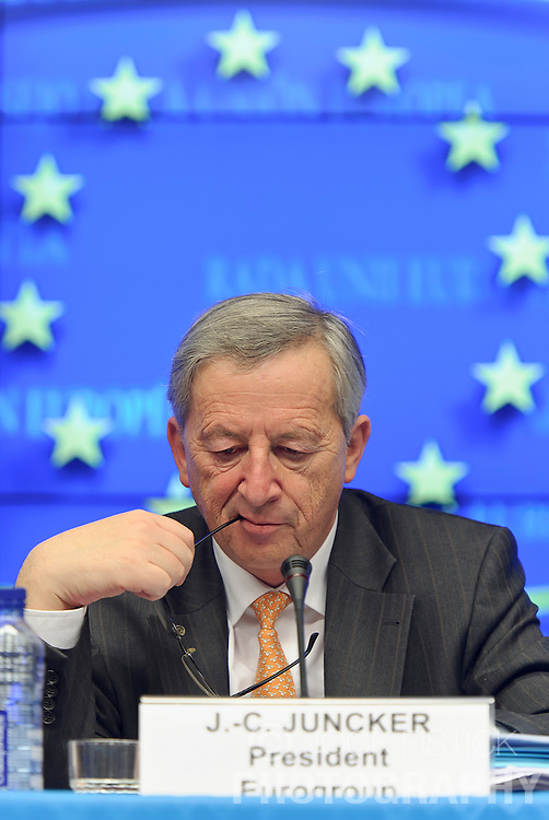 Jean-Claude Juncker, Luxembourg's prime minister, and president of the Eurogroup, listens during a press conference following the Eurogroup meeting in Brussels, Monday Dec. 6, 2010.  (Photo © Jock Fistick).