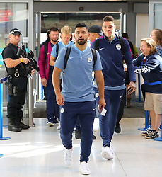 Sergio Aguero and Ederson at Manchester Airport as the Manchester City team fly out to the USA on Monday morning to start their pre-season tour
