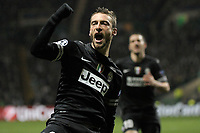 Esultanza Claudio Marchisio dopo il gol  . goal celebration , Juventus.Glasgow 12/02/2013 Celtic Park Stadium.Football Calcio Champions League Season 2012/13.Celtic Glasgow vs Juventus.Foto Insidefoto Federico Tardito