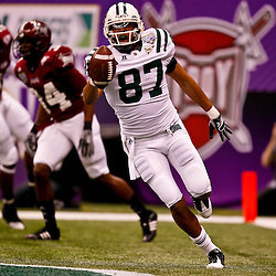 December 18, 2010; New Orleans, LA, USA; Ohio Bobcats wide receiver Steven Goulet (87) celebrates following a touchdown against the Troy Trojans during the first quarter of the 2010 New Orleans Bowl at the Louisiana Superdome.  Mandatory Credit: Derick E. Hingle