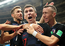 MOSCOW, July 11, 2018  Mario Mandzukic (C) of Croatia celebrates scoring with teammates during the 2018 FIFA World Cup semi-final match between England and Croatia in Moscow, Russia, July 11, 2018. (Credit Image: © Cao Can/Xinhua via ZUMA Wire)