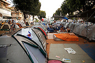 The first &quot;tent city&quot; of the Israeli protestors against the expensive housing and the worsening social conditions in the country. Rothschild blvd. Tel-Aviv, July 31, 2011.<br /> <br /> Two weeks after the protest over housing distress arisen in Israel, demonstrations are sweeping the country. More than 150,000 people took part in protests nationwide calling for socioeconomic changes, demanding &quot;social justice&quot;. Hundreds of people placed tents in central locations of major cities as their protest encampments (&quot;tent cities&quot;). What only started as a protest over expensive housing, rapidly accelerated to be the Israeli summer of discontent.