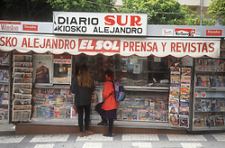 Kiosko newspaper and magazine stall in Malaga,