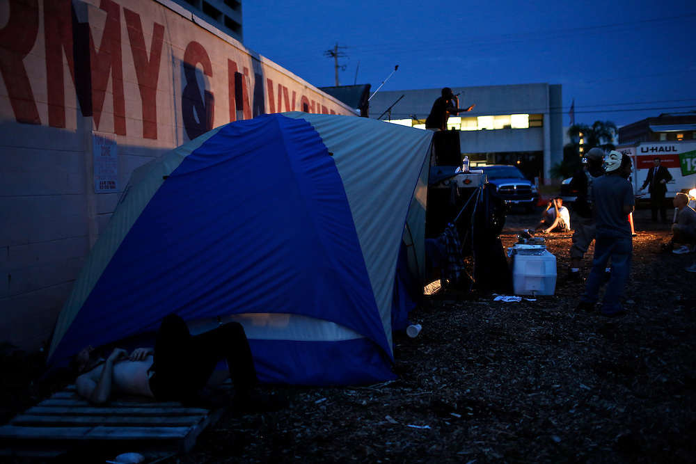 Protesters from around the country are staying in a camp called Romneyville next to an army suplus store during the 2012 Republican National Convention on August 29, 2012 in Tampa, Fla.