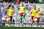 Burnley striker Andre Gray (7) scores and celebrates (1-1) during the Sky Bet Championship match between Brighton and Hove Albion and Burnley at the American Express Community Stadium, Brighton and Hove, England on 2 April 2016.