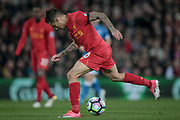 Philippe Coutinho (Liverpool) tries to get the ball from underneath him as he is through on goal and is about to score a goal to get Liverpool back on level terms, 1-1 during the Premier League match between Liverpool and Bournemouth at Anfield, Liverpool, England on 5 April 2017. Photo by Mark P Doherty.