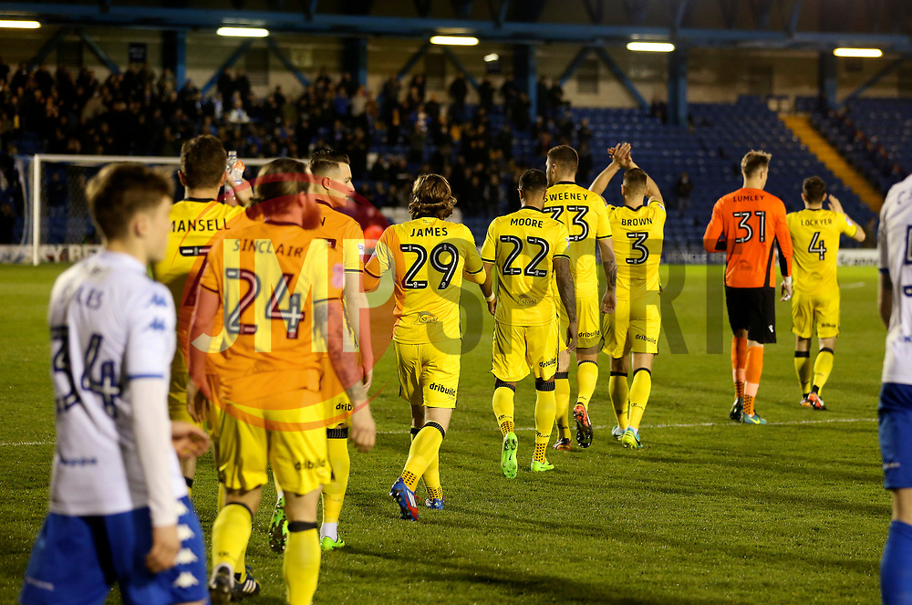 Bristol Rovers players walk out on to the pitch - Mandatory by-line: Matt McNulty/JMP - 14/03/2017 - FOOTBALL - Gigg Lane - Bury, England - Bury v Bristol Rovers - Sky Bet League One